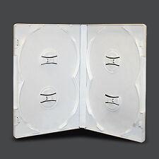 NEW! 1 Premium 4-Disc Quad DVD Case White Overlap Multi 14mm - Holds 4 discs