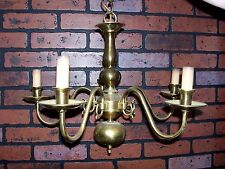 ANTIQUE / VINTAGE BRASS CHANDELIER -- 5 ARM -- SOLID BRASS
