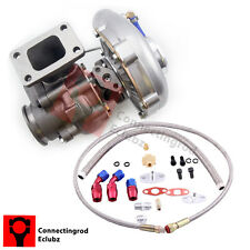 New T3 T4 T3T4 T04E Turbo Turbocharger & Oil Drain Return  FEED Line Kit CRB