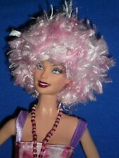 Funky Hand Made Yarn Wig Hat to fit Barbie ~ Space Age/80's/Punk/Fantasy ~ Pink
