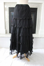 FUN HOUSE Long Black Ruffle Layered Semi-Full Gothic Mesh Skirt  M 8 10