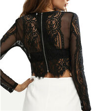 Fashion Summer Women Ladies Long Sleeve See-Through Crochet Lace Crop Top Tops