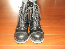 ANARCHIC TUK BLACK LEATHER 10 EYELET LACE UP BOOTS LADIES SZ 6 / UK 4