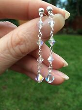 LONG CRYSTAL DROP WEDDING EARRINGS STERLING SILVER DESIGNER- SWAROVSKI ELEMENTS