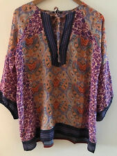 SUNDANCE CATALOG by Timo Cross Culture Top SILK Tunic LARGE Orig. $158 NWT