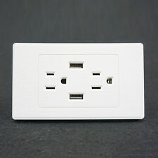 White AC Power Adapter Socket Dock Station 2 Port USB Wall Charger Outlet Plate