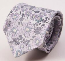 New $175 DUCHAMP LONDON Silver-Pale Pink-Aqua Multi Floral Silk Tie England