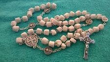St. Benedict ROSARY HANDMADE OF White ROCK STONE unique rosaries from Medjugorje