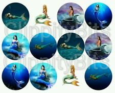 "50 x 1"" Inch Pre Cut Bottle Cap Images Fantasy Mermaid Pictures bows crafting"
