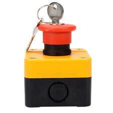 10A 660V Weatherproof Red Sign Emergency Stop Push Button Switch & Key Fast Ship