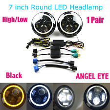 2pcs 7'' Jeep Round LED Headlight White Halo Angel Eye for Jeep Wrangler Black