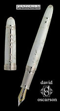 DAVID OSCARSON   WINTER WHITE FOUNTAIN PEN MEDIUM NIB