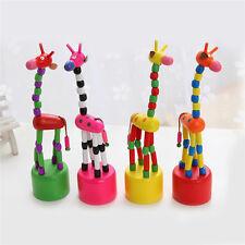 Push Up Cucciolo Legno Divertente Giraffa Giocattolo Colorato Chooese 1pz.
