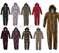 All In One Kids Girls Boys Sleepsuit Pyjamas Jumpsuit New Fleece 2 - 13 years