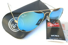 New RAY-BAN RB3025 blue mirror lens aviator 58mm sunglasses made in ITALY + case