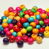 100 WOODEN ROUND CRAFT BEADS MULTI COLOURED 8mm (BBA151)