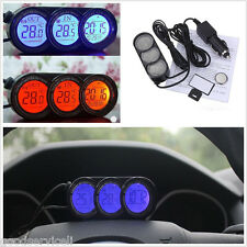 12V Blue/Orange LED Backlight Vehicle Interior Thermometer Guage Alarming Clock