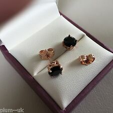 4pin 6.5mm round black sapphire 14k ROSE GOLD gf stud earrings boxed A17 Plum UK