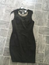 H & M SIZE EUR 38 BLACK BODYCON STRETCH SLEEVELESS DRESS WITH BEAD DESIGN YOKE