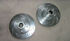 Mustang II Slotted Cross Drilled Coated Brake Rotors CHEVY 5 x 4.75 lug pattern