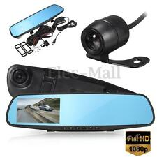 4'' 1080P HD Dual Lens Car DVR Camera Monitor Dash Cam Recorder Reverse Mirror
