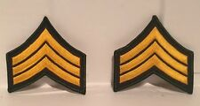 PAIR (2) US Army E5 Sergeant Stripes Military Uniform Chevrons Patch Gold Green