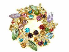 Elegant Purple, Green & Blue Circle Wreath Rhinestones Brooch Gold Base BR90