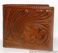 New WESTERN TOOLED Leather Wallet Floral Leaf Design by MONTANA WEST w BOX