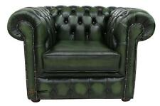 Chesterfield London English Low Back Club Armchair Antique Green Leather