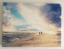 Surfer Couple Holiday Escape Vacation Beach Sky Sea Ready To Hang Wood Frame