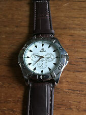 New Mens Large Face Quartz Watch with Leather Strap  W86c