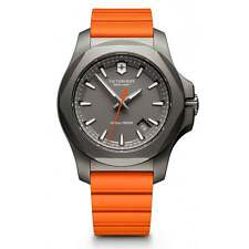 New Victorinox Swiss Army Inox Titanium Orange Rubber Strap Mens Watch 241758