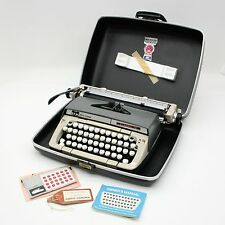 Vtg 1970 Smith Corona Classic 12 Portable Manual Typewriter Gray Hard Case