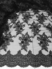 """BLACK MESH W/BLACK SILVER EMBROIDERY  SEQUINS LACE FABRIC 52"""" WIDE 1 YARD"""