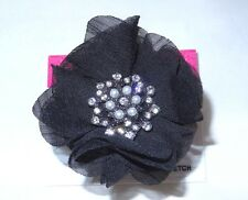 New Black Flower Stretch Ring on Hematite Band with Crystals NWT #R1159A