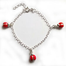 "NEW Sterling Silver Ladybird Enamelled Childs Charm Bracelet 5.75"" 925 Stamp"