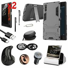 Case Cover+Wireless Earphones+Dock Charger Accessory Bundle For Sony Xperia XZ