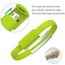 Mini Short Flat Bracelet Micro USB 2.0 Sync Data Charger Cable for Android Green