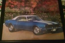 1968 68 BLUE CAMARO RS WHITE STRIPES PICTURE PIC IN NEW BLACK FRAME 8 X 11