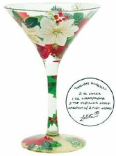 Lolita | LOVE MY MARTINI Holiday Bouquet Hand Painted Martini Glass *NEW IN BOX*