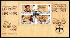 500 Jahre Entdeckung Amerikas. Chr. Kolumbus. FDC. Block. Guernsey 1992