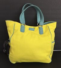COLE HAAN Reversible YELLOW/ CANVAS BAG/TOTE WITH BLUE LEATHER TRIM MSRP $198.