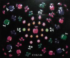 Accessoire ongles,nail art- Stickers autocollants,pommes et cerises multicolores