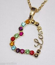 Valentine's Gold Rhinestone Love Heart Necklace Pendant and Earrings Set