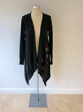 CREA CONCEPT DARK GREY MERINO WOOL LONG CARDIGAN SIZE 42 UK 12/14