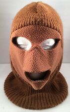Vintage Winter Full Face Ski Mask Brown Snowmobile Snowboard Hunting Made in USA