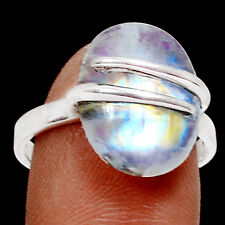 Rainbow Moonstone 925 Sterling Silver Ring Jewelry s.8 RR17201