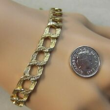 9 ct gold second hand bark finish open curb bracelet