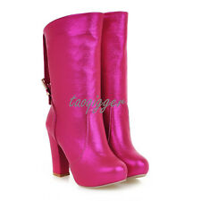 All US Size Women Platform Pull On Ankle Boots Block High Heel Knight Boots New