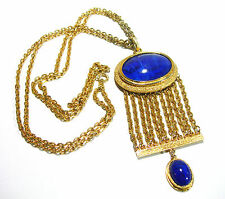 VINTAGE LARGE BLUE LUCITE GOLD TONE CHUNKY NECKLACE